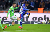 Salomon Kalou of Hertha BSC scores the 11 next to Christian Traesch of VfL Wolfsburg during the game between Hertha BSC and dem VfL Wolfsburg on...