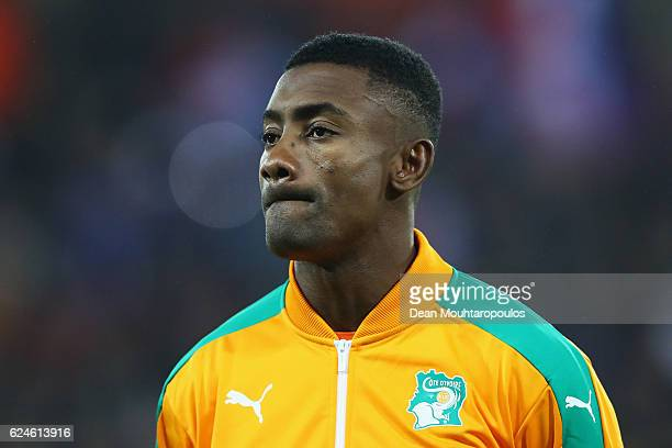Salomon Kalou of The Ivory Coast stands for the national anthem prior to the International Friendly match between France and Ivory Coast held at...