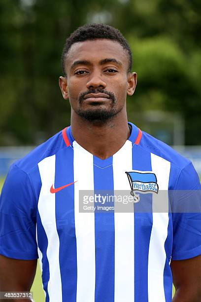 Salomon Kalou poses during the Hertha BSC team presentation on July 10 2015 in Berlin Germany