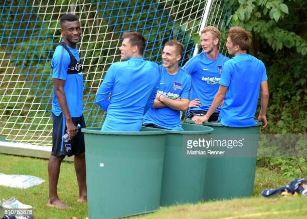 Salomon Kalou Rune Almenning Jarstein Peter Pekarik Fabian Lustenberger and Genki Haraguchi during the first day of the training camp of Hertha BSC...