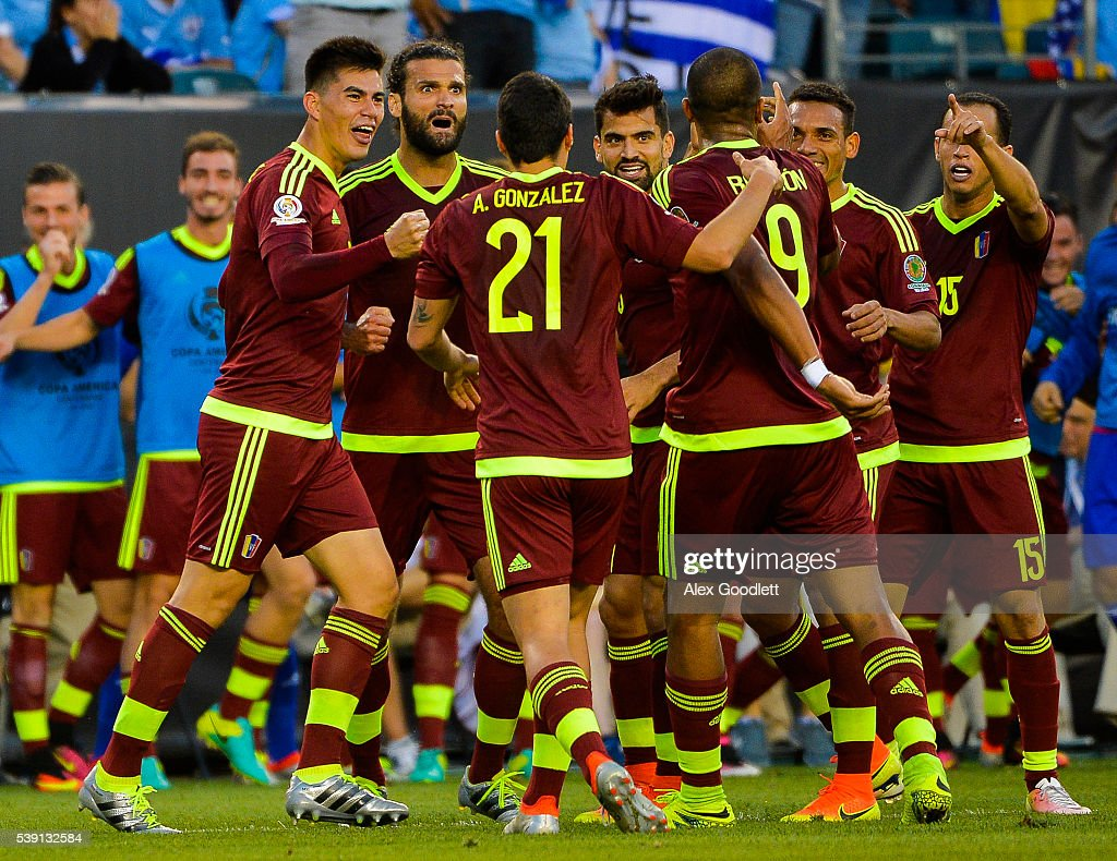 Salomon Rondon of Venezuela celebrates with his teammates after scoring a goal during a group C match between Uruguay and Venezuela at Lincoln Financial Field as part of Copa America Centenario US 2016 on June 09, 2016 in Philadelphia, Pennsylvania, US.