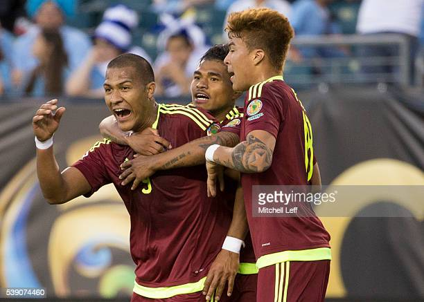 Salomon Rondon of Venezuela reacts after his goal along with Josef Martinez and Adalberto Penaranda against Uruguay during the 2016 Copa America...