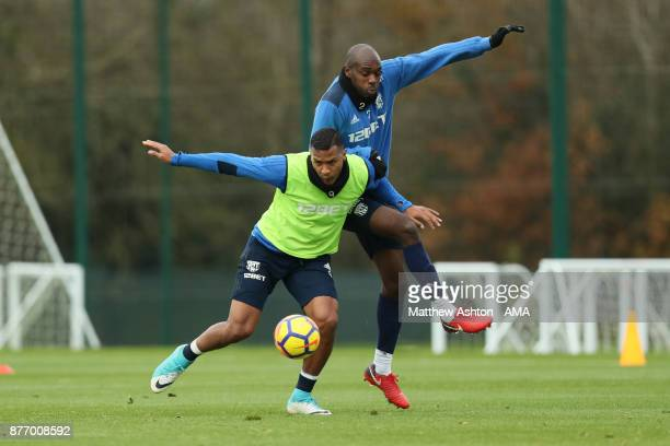 Salomon Rondon of West Bromwich Albion and Allan Nyom of West Bromwich Albion during a training session on November 21 2017 in West Bromwich England