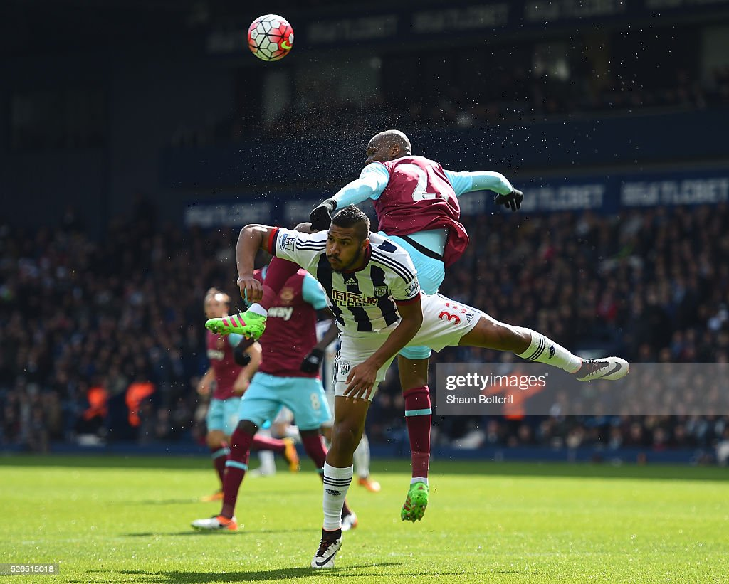 Salomon Rondon of West Bromwich Albion and Angelo Ogbonna Obinza of West Ham United compete for the ball during the Barclays Premier League match between West Bromwich Albion and West Ham United at The Hawthorns on April 30, 2016 in West Bromwich, England.