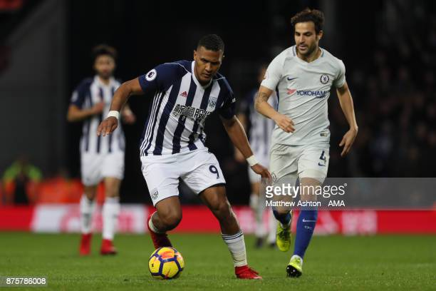 Salomon Rondon of West Bromwich Albion and Cesc Fabregas of Chelsea during the Premier League match between West Bromwich Albion and Chelsea at The...
