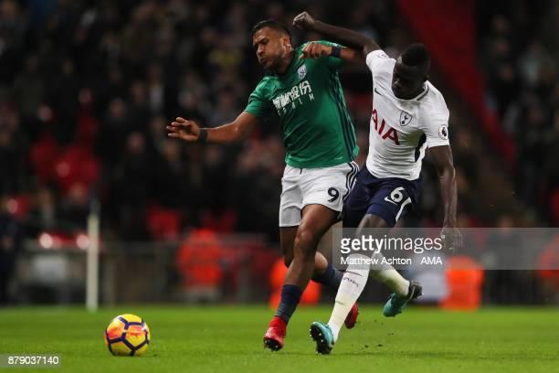 Salomon Rondon of West Bromwich Albion and Davinson Sanchez of Tottenham Hotspur during the Premier League match between Tottenham Hotspur and West...