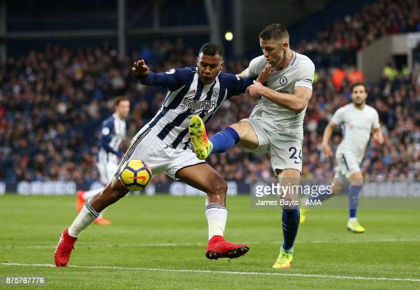 Salomon Rondon of West Bromwich Albion and Gary Cahill of Chelsea during the Premier League match between West Bromwich Albion and Chelsea at The...