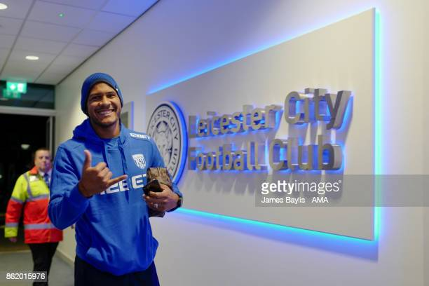 Salomon Rondon of West Bromwich Albion arrives for the game prior to the Premier League match between Leicester City and West Bromwich Albion at The...