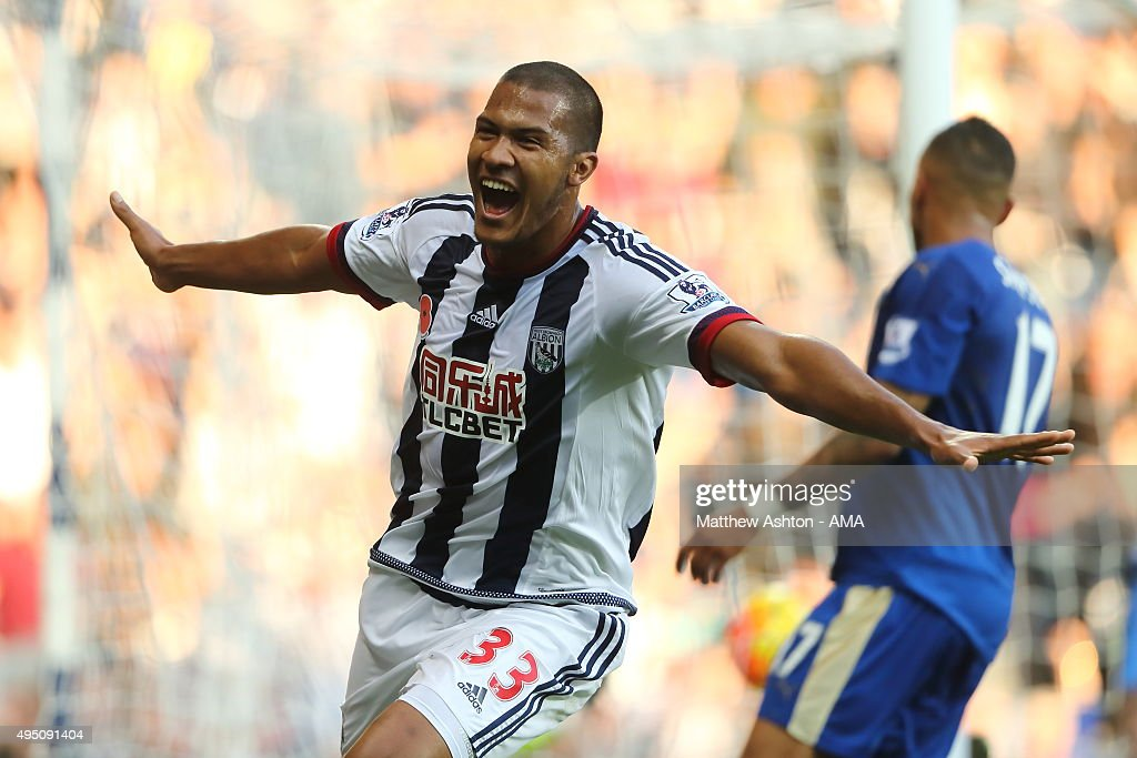 Salomon Rondon of West Bromwich Albion celebrates after scoring a goal to make it 1-0 during the Barclays Premier League match between West Bromwich Albion and Leicester City at The Hawthorns on October 31, 2015 in West Bromwich, England.