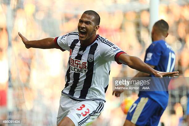 Salomon Rondon of West Bromwich Albion celebrates after scoring a goal to make it 10 during the Barclays Premier League match between West Bromwich...
