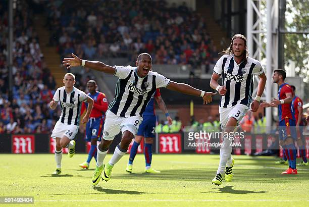 Salomon Rondon of West Bromwich Albion celebrates after scoring a goal to make it 01during the Premier League match between Crystal Palace and West...