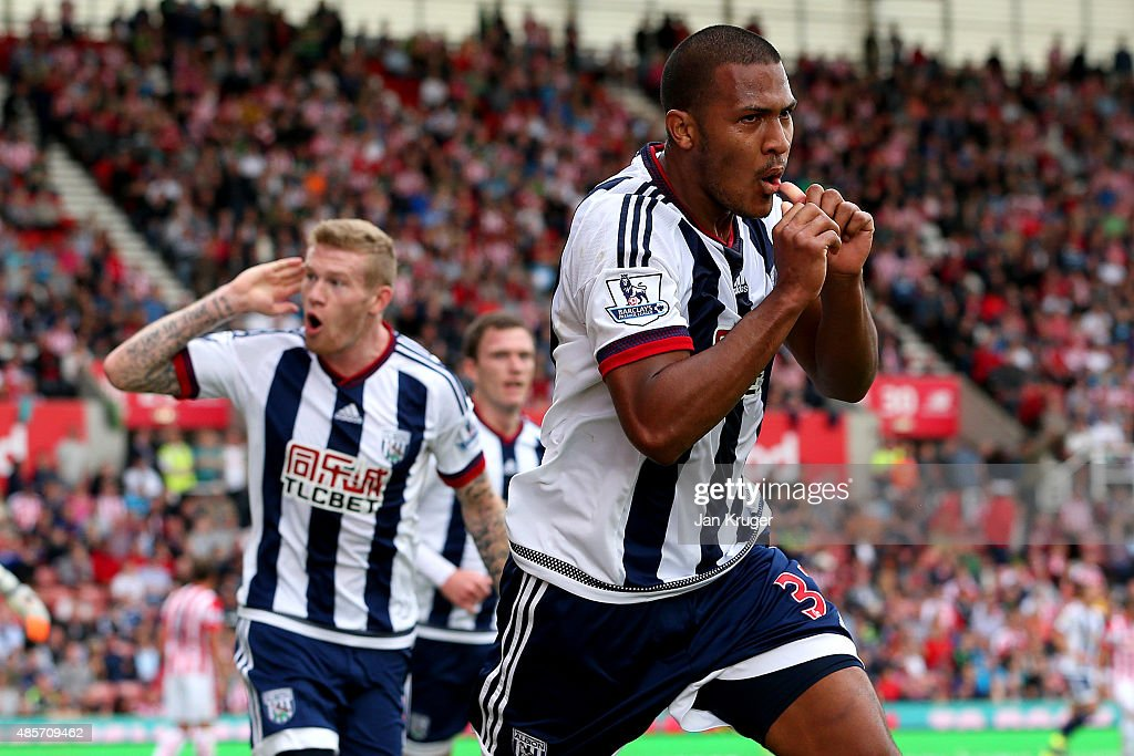 Salomon Rondon of West Bromwich Albion celebrates scoring his team's first goal during the Barclays Premier League match between Stoke City and West Bromwich Albion at Britannia Stadium on August 29, 2015 in Stoke on Trent, England.