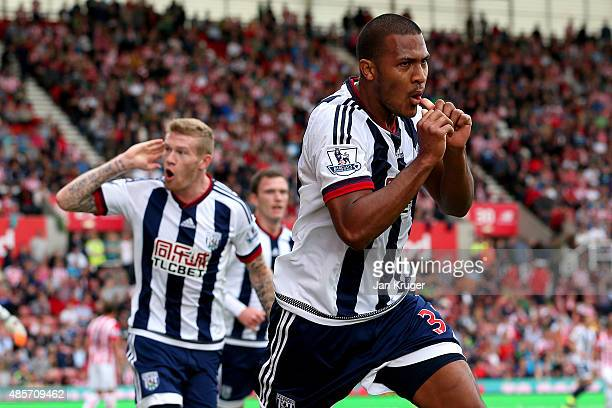 Salomon Rondon of West Bromwich Albion celebrates scoring his team's first goal during the Barclays Premier League match between Stoke City and West...