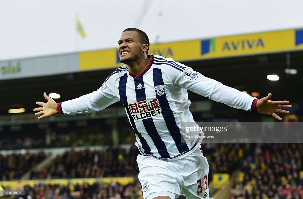 Salomon Rondon of West Bromwich Albion celebrates scoring his team's first goal during the Barclays Premier League match between Norwich City and West Bromwich Albion at Carrow Road on October 24, 2015 in Norwich, England.