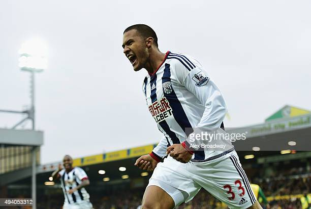 Salomon Rondon of West Bromwich Albion celebrates scoring his team's first goal during the Barclays Premier League match between Norwich City and...