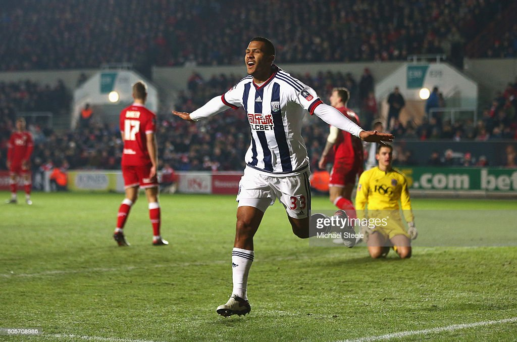 Salomon Rondon of West Bromwich Albion celebrates scoring his team's first goal during the Emirates FA Cup Third Round Replay match between Bristol...