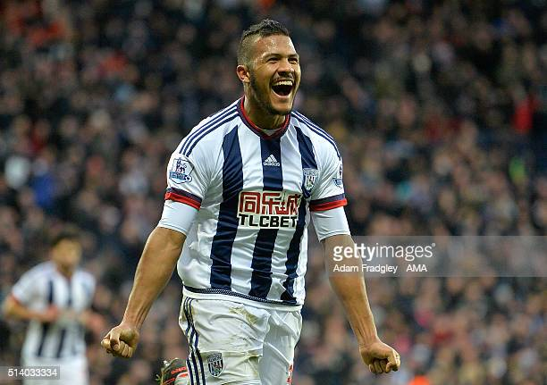 Salomon Rondon of West Bromwich Albion celebrates scoring the first goal during the Barclays Premier League match between West Bromwich Albion and...