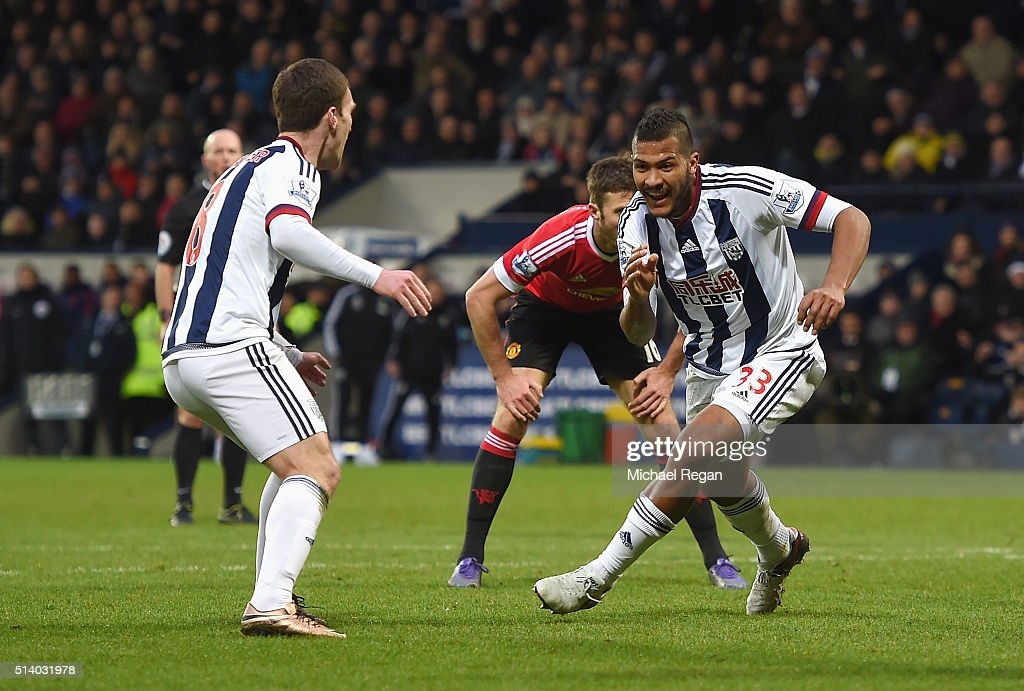 Salomon Rondon of West Bromwich Albion celebrates scoring the opening goal during the Barclays Premier League match between West Bromwich Albion and Manchester United at The Hawthorns on March 6, 2016 in West Bromwich, England.