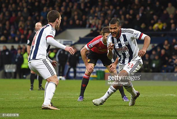 Salomon Rondon of West Bromwich Albion celebrates scoring the opening goal during the Barclays Premier League match between West Bromwich Albion and...