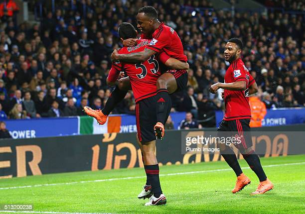 Salomon Rondon of West Bromwich Albion celebrates with Saido Berahino of West Bromwich Albion after scoring to make it 01 during the Barclays Premier...