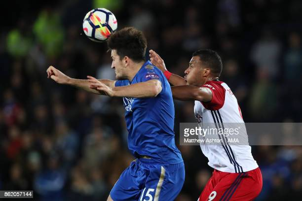 Salomon Rondon of West Bromwich Albion competes with Harry Maguire of Leicester City during the Premier League match between Leicester City and West...