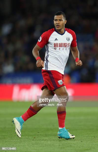 Salomon Rondon of West Bromwich Albion during the Premier League match between Leicester City and West Bromwich Albion at The King Power Stadium on...