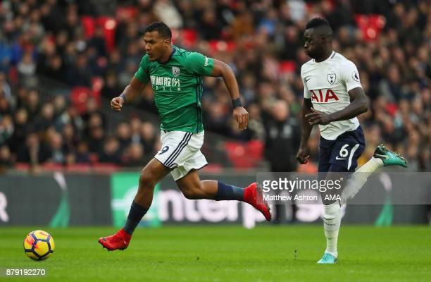 Salomon Rondon of West Bromwich Albion gets past Davinson Sanchez of Tottenham Hotspur on his way to score during the Premier League match between...
