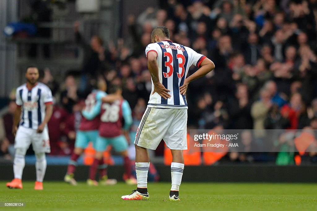 Salomon Rondon of West Bromwich Albion looks dejected during the Barclays Premier League match between West Bromwich Albion and West Ham United at The Hawthorns on April 30, 2016 in West Bromwich, United Kingdom.
