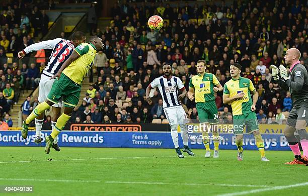 Salomon Rondon of West Bromwich Albion scores his team's first goal during the Barclays Premier League match between Norwich City and West Bromwich...