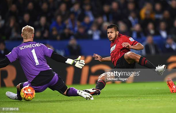 Salomon Rondon of West Bromwich Albion scores his team's first goal past Kasper Schmeichel of Leicester City during the Barclays Premier League match...