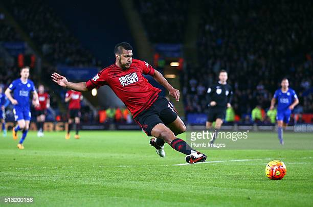 Salomon Rondon of West Bromwich Albion scores to make it 01 during the Barclays Premier League match between Leicester City and West Bromwich Albion...
