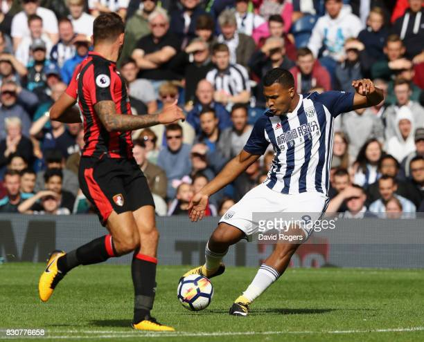 Salomon Rondon of West Bromwich Albion takes a shot during the Premier League match between West Bromwich Albion and AFC Bournemouth at The Hawthorns...