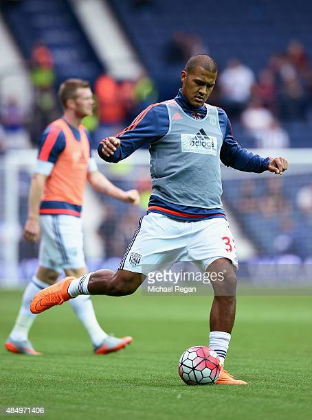 Salomon Rondon of West Bromwich Albion warms up prior to the Barclays Premier League match between West Bromwich Albion and Chelsea at The Hawthorns...