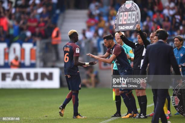 Salomon Sambia and Facundo Piriz of Montpellier during the Ligue 1 match between Montpellier Herault SC and Paris Saint Germain at Stade de la Mosson...