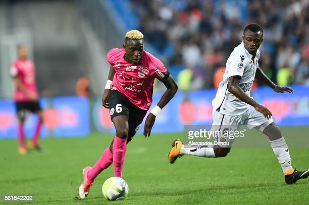 Salomon Sambia of Montpellier and Jean Michael Seri of Nice during the Ligue 1 match between Montpellier Herault SC and OGC Nice at Stade de la...