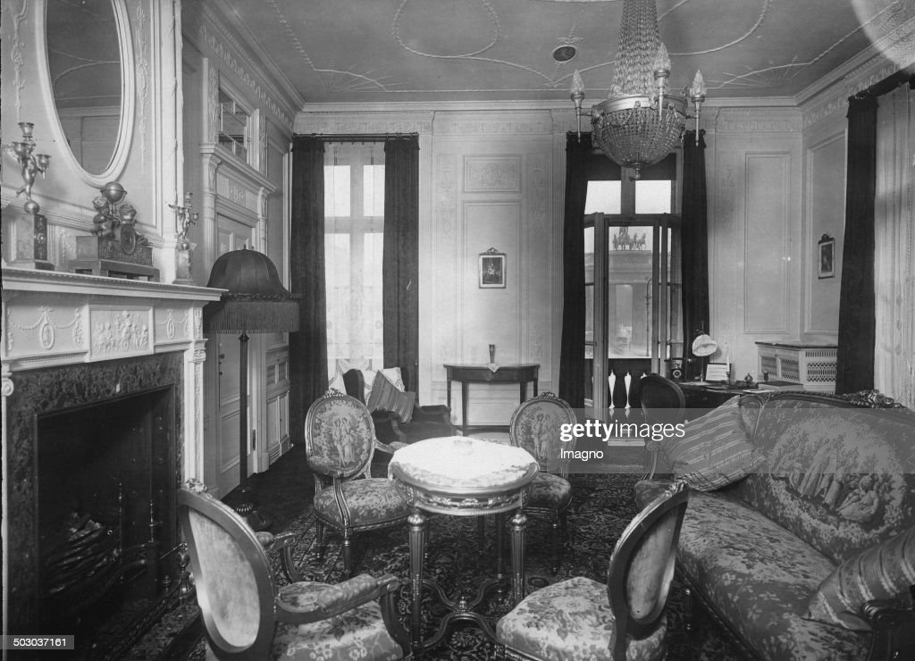Salon of an apartment at the Hotel Adlon in Berlin The Brandenburg Gate in the background 17th September 1931 Photograph