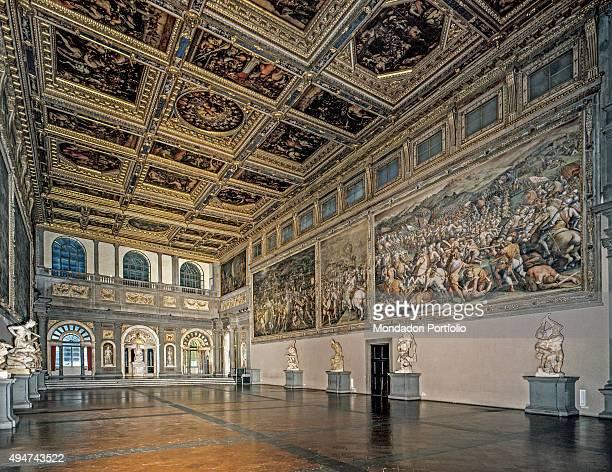 Salone dei Cinquecento by Giorgio Vasari and assistence 15631572 16th century Italy Tuscany Florence Palazzo Vecchio Whole artwork view View of the...