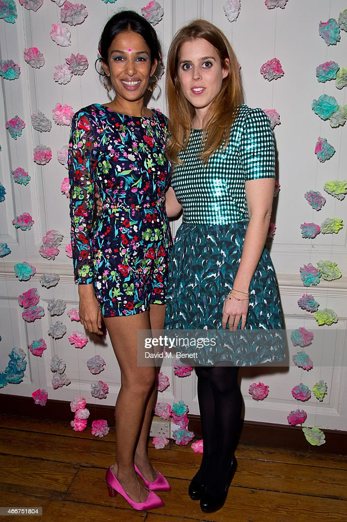 Saloni Lodha and <a gi-track='captionPersonalityLinkClicked' href=/galleries/search?phrase=Princess+Beatrice+of+York&family=editorial&specificpeople=531999 ng-click='$event.stopPropagation()'>Princess Beatrice of York</a> attends the Saloni Holi colour cocktail party on March 18, 2015 in London, England.