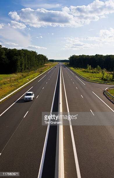 Saloon car on new French highway near Azay le Rideau in the Loire Valley France