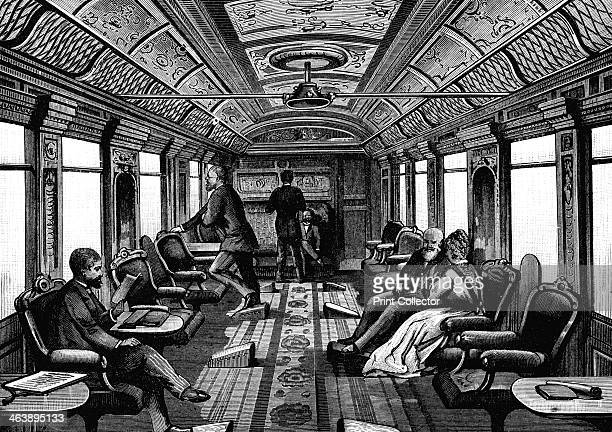 Saloon car on the Orient Express c1895 Wood engraving published Leipzig