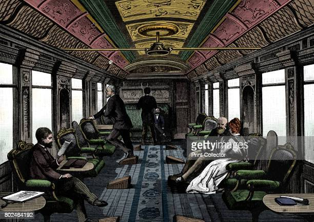 Saloon car on the Orient Express c1895 Wood engraving published Leipzig Artist Unknown