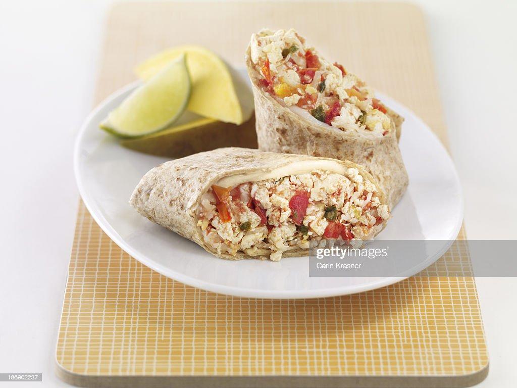 Salsa-Tofu Breakfast Burrito : Stock Photo