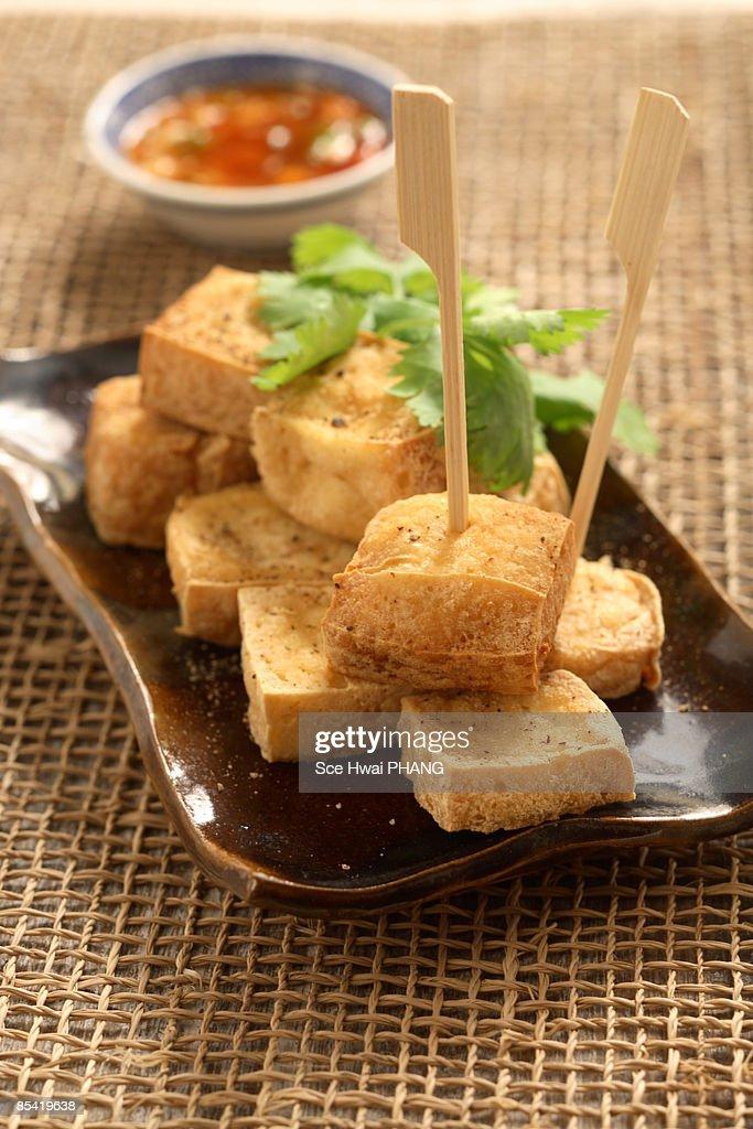 Salt and pepper fried tofu : Stock Photo