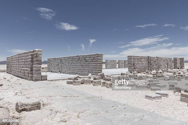 Salt blocks stand at the Salar de Uyuni in Potosi Bolivia on Sunday Dec 11 2016 Bolivia has the largest lithium deposits of any country which are...