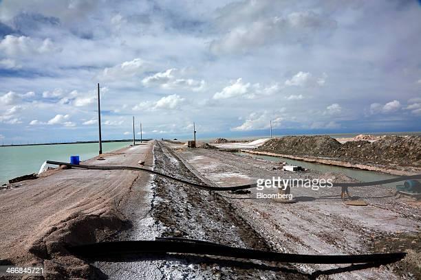 Salt brine is pumped from under the Uyuni Salt Flats into evaporation pools to produce lithium bicarbonate in Uyuni Bolivia on Wednesday Jan 29 2014...