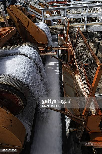 Salt collected from dried ponds is washed at the Exportadora de Sal company plant in Guerrero Negro Baja California Sur state Mexico on March 03...