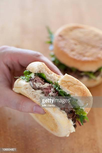 Salt crusted beef burgers