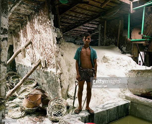 Salt factory worker