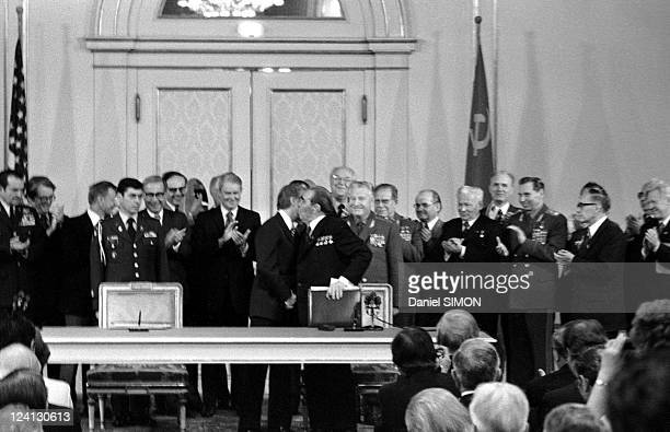Salt II agreement In Vienna Austria In June 1979 Jimmy Carter and Leonid Brezhnev kissing