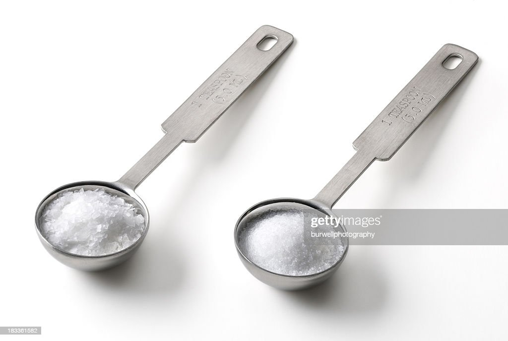Salt in a metal teaspoon
